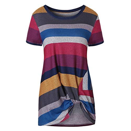 BHYDRY Frauen-beiläufige Streifen-T-Shirts Twist Knot Tuniken Tops Blusen(Small,Rot