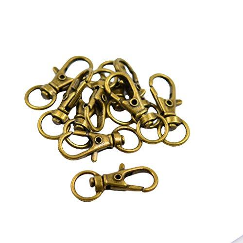 10pcs Security Hooks Swivel Trigger Bronze Keychain Vintage 32x12mm