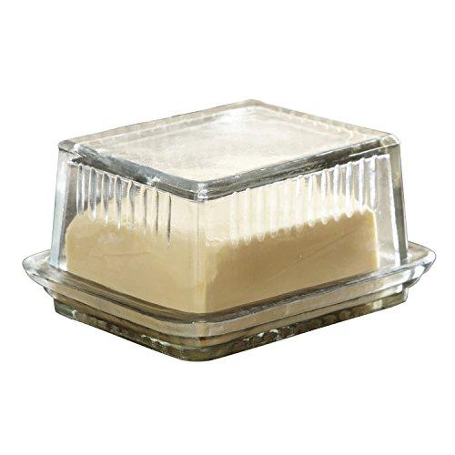 Loberon Butterdose Durham, Glas, H/B/T ca. 7,5/17 / 10 cm, klar
