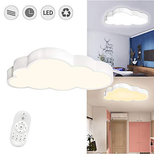 SAILUN 48W Wolken Deckenleuchte LED Ultradünne Dimmbar mit Fernbedienung - Jungen Und Mädchen Cartoon Lampe - 50 x 28 x 5,3cm Deckenlampe für Kindergarten Küche Schlafzimmer