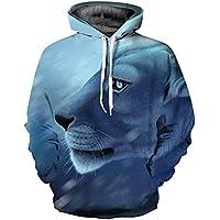 Homme Femme Hoodie Unisex Automne Élégant Mode Costume Pullover Lion  Impression 3D Manches Longues Cordon De 0aa60c2289c9