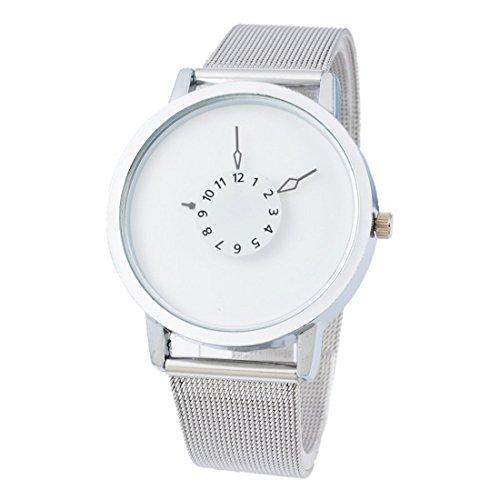 Souarts Damen Silber Farbe Edelstahl Uhrarmband Armbanduhr Quartzuhr Sommer Uhr mit Batterie