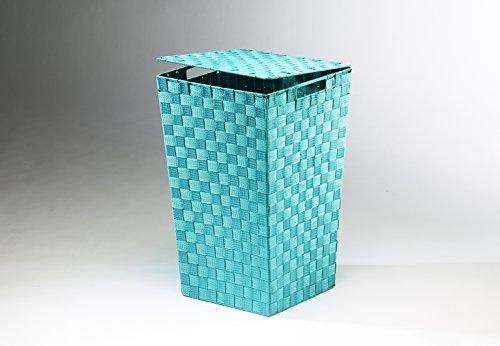 Wäschekorb Wäschebox Wäschesammler Wäschetruhe Wäschebehälter Wäschesortierer Aufbewahrungskorb quadratisch hellblau aus Nylon mit Metallrahmen - 2