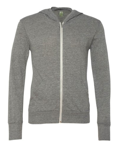 Sweatshirt Alternative Apparel (Eco-Die Alternative Männer Reißverschluss Sweatshirt mit Kapuze Sweatshirt XL Grau (Eco Gris))
