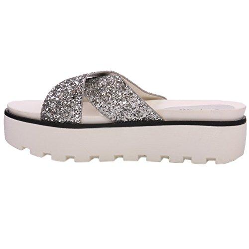 Frauen Für Slippers Unze Carie ' 47a Silber Glittery Crossover Ag1503 wq1T1B