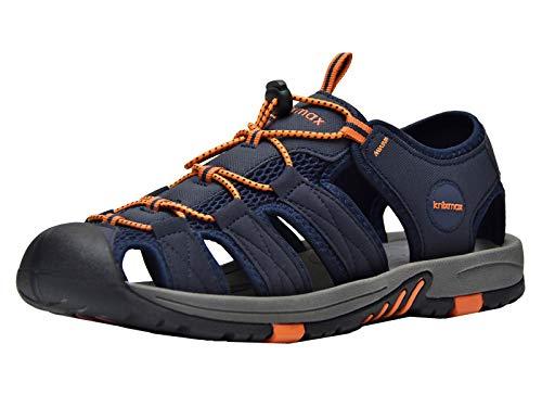 Knixmax Sandal Trekking Wandersandalen Damen Herren Rutschfeste Comfort Wanderschuhe Sommer Männer Women Walking Schuhe Sport-& Outdoor Sandalen EU45-(UK 11) Navy - 11 Männer Für Sandalen