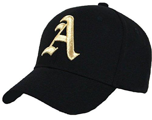 Unisex Damen Herren Baseball Cap Caps Gothic Letter A Hüte Mützen Snap Back Hat Hats (A Black Gold)