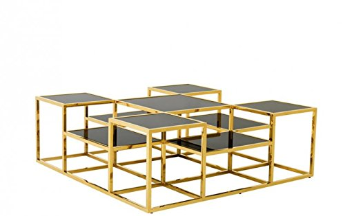 CASA PADRINO ART DECO LUXURY COFFEE TABLE GOLD WITH BLACK GLASS - LIVING ROOM COFFEE TABLE - LUXURY COLLECTION