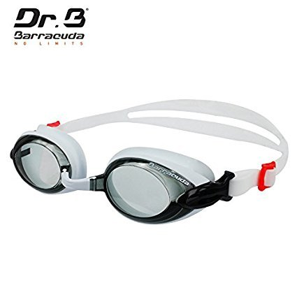 Dr.B Barracuda RX - Optische Schwimmbrille mit Sehstärke für Damen und Herren, 100% UV-Schutz, Anti-Beschlag-Beschichtung #92295 (Weiß, -5.5)