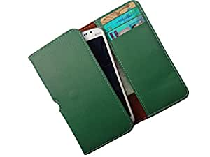 ATV PU Leather Persian Green Pouch Case Flip Cover For Lava X3