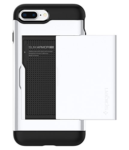 iPhone 8 PLUS / 7 PLUS Hülle, Spigen® [Slim Armor CS] iPhone 8 PLUS Hülle, Kartenfach [Gunmetal] Doppelte Schutzschicht mit Luftpolster-Kantenschutz - Card Holder Case Schutzhülle für Apple iPhone 7 P SACS Diamant Weiß