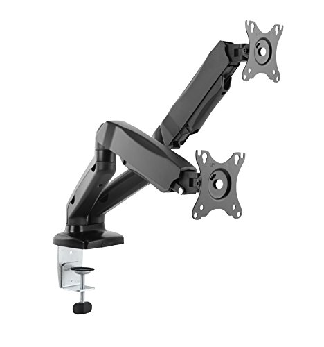 Dual 2 Fach Tischhalterung mit Gasdruckfeder für LED und LCD Monitore bis 27 Zoll VESA 75x75 100x100 HALTERUNGSPROFI OFFICE-GS224 (2 Monitore) -