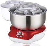 DMS Küchenmaschine (1400 Watt, 6 Stufen + 2x 5 Liter) | Knetmaschine für Brotteig | Rührmaschine mit 2x 5 Liter Rührschüssel | Doppel Knethaken | Doppel Schneebesen und Scharber
