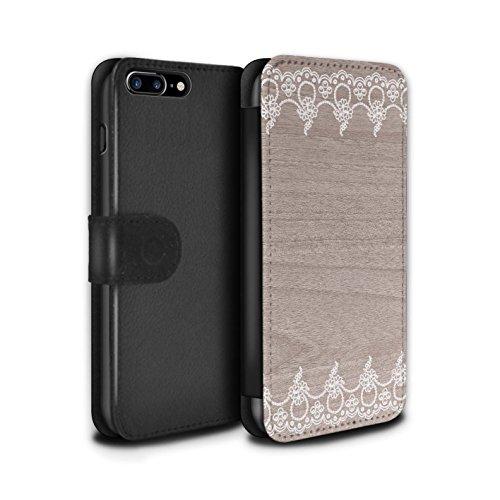 STUFF4 PU-Leder Hülle/Case/Tasche/Cover für Apple iPhone 7 Plus / Fein Rand Muster / Fein Spitzenborte Holz Kollektion Fein Rand