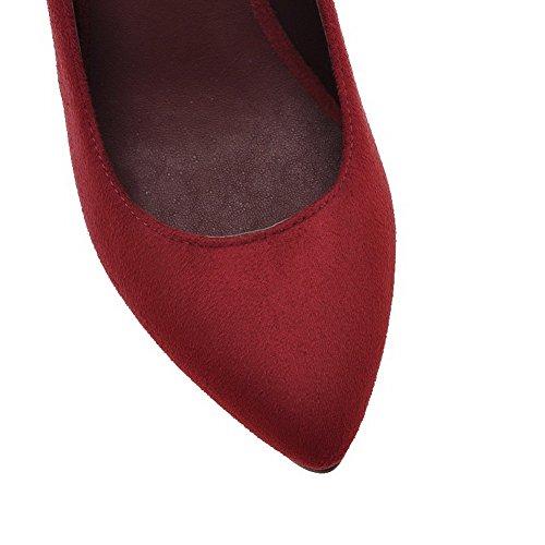 AgooLar Femme Dépolissement Tire Pointu à Talon Haut Couleur Unie Chaussures Légeres Rouge