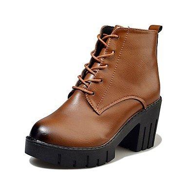 RTRY Scarpe donna pu cadere Comfort stivali blocco tacco Punta stivali Mid-Calf Lace-Up per vestire il marrone scuro nero US5.5 / EU36 / UK3.5 / CN35
