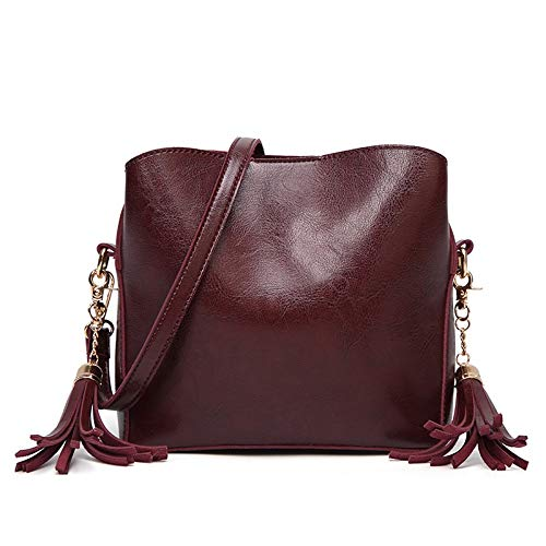 Uzanesx Multi Pockets Lightweight Medium Crossbody Bags Geldbörsen für Damen (Color : Wine red) -