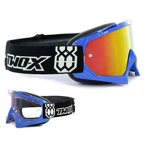 TWO-X Race Crossbrille blau Glas verspiegelt Iridium MX Brille Motocross Enduro Spiegelglas Motorradbrille Anti Scratch MX Schutzbrille