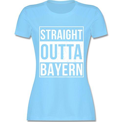 Bayern Frauen - Straight Outta Bayern Weiss - L191 tailliertes Damen Frauen T-Shirt Hellblau