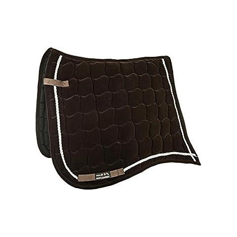 HKM Velvet saddlecloth -Antique- Antique Dressage Dark Brown/Silver