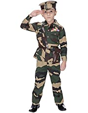 Smuktar garments Army Costume for Kids, 3-4 Years (Green)