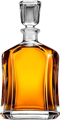 Paksh Novelty Capitol Glass Decanter with Airtight Geometric Stopper - Whiskey Decanter for Wine, Bourbon, Brandy, Liquor, Juice, Water, & Mouthwash   23.75 oz Brandy Decanter