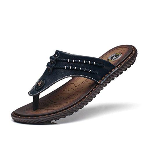 Chaussure de Plage Piscine de Sport d'eau Homme Été Pantoufle de Cuir Casual Tong Antidérapant Confortable