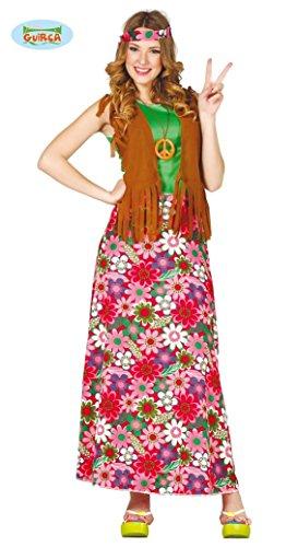 Happy Hippie Kostüm Damenkostüm 70er Jahre Motto Party Kleid Karneval Gr. M-XL, Größe:M