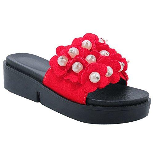 Mee Shoes Damen Blume Nubukleder Plateau Slipper Rot