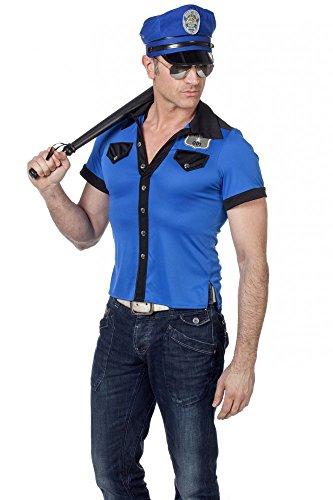 Hut für Herren in Markenqualität Kostüm Oberteil Cop Kappe Hemd Mütze, Größe:50 ()
