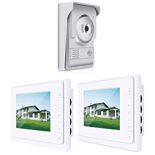 Meisijia 7 Zoll HD Farbe Video Visual Startseite Intercom Anti-Diebstahl-Türklingel für Sicherheit mit 2 Innengeräten 1 0utdoor Einheit (Intercom-einheit)