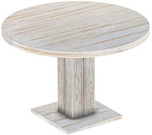 Brasilmöbel Säulentisch Rio UNO Rund 120 cm Shabby Brasil Tisch Esstisch Pinie Massivholz Esszimmertisch Holz Küchentisch Echtholz Größe und Farbe wählbar