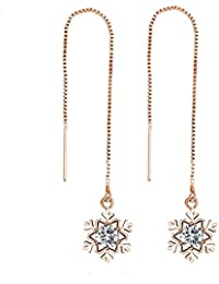 S.A.V.I Trendy Crystal Rose Gold Snowflake Drop Earrings For Women