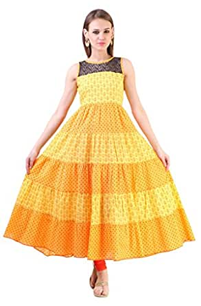 Libas Women's Cotton Printed Anarkali Kurta (1561_Yellow)