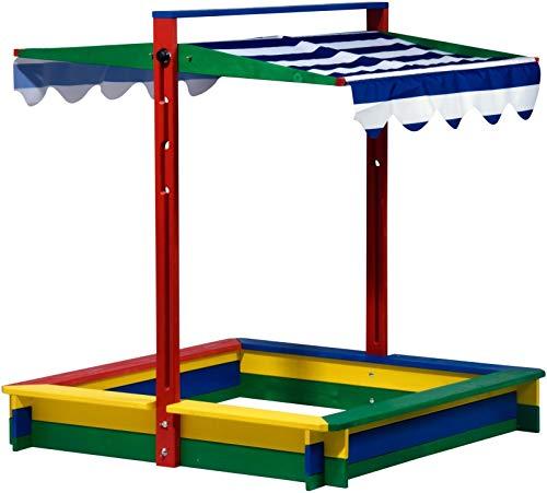 FidgetGear Holz Sandkasten mit Dach Abdeckung Sandkiste Buddelkiste groß XL viereckig bunt as picture show One