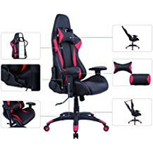 AmazonBasics Gaming Office Chair, Racing Design, PU leather, Red
