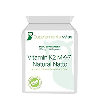 Vitamin K2 MK7 Capsules | 60 x 100mcg | From Natural Natto | High Strength Bone Health, Cardiovascular And Circulation Supplement by Supplements Wise