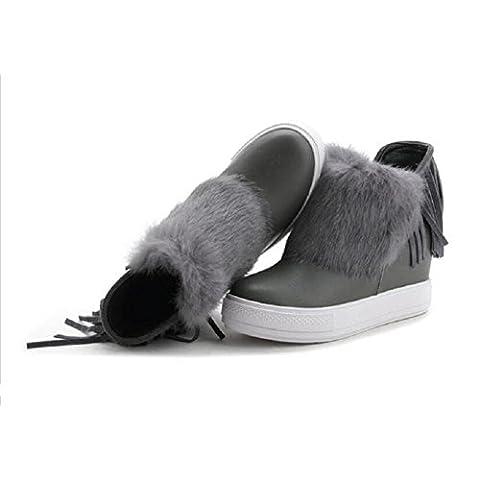 Invierno nieve flecos cuero botas cálido mujeres moda cuero corto , gray , 37