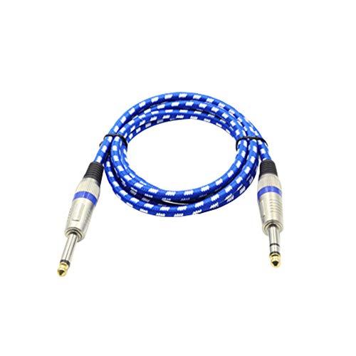 Sguan-wu 300 cm Cable de bajo para guitarra eléctrica Cable de audio trenzado de conexión directa a recta - Azul + Blanco 300 cm