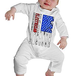 SDLZIJFGHBC Electrician Us Flag Newborn Baby Long Sleeve Bodysuit Baby Clothes 10