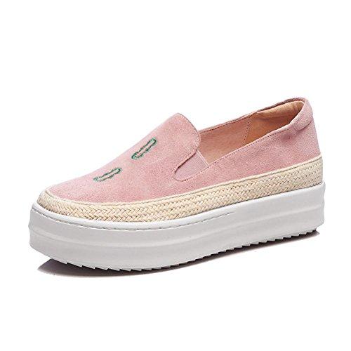 KJJDE Plateauschuhe Damen Creepers Schuhe WSXY-A1104 Kreative Stickerei Keilabsatz Einfache Serie, Pink, 36