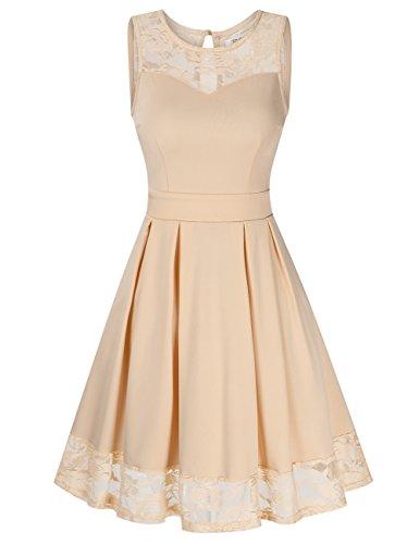 KoJooin Damen Elegant Kleider Spitzenkleid Ohne Arm Cocktailkleid Knielang Rockabilly Kleid Beige S
