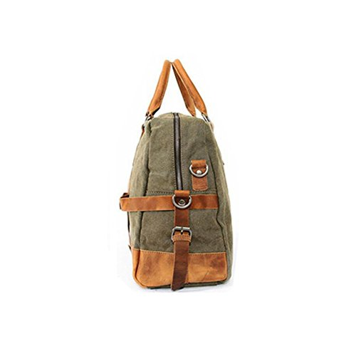 Paonies Damen Herren Tasche Handtasche Handgepäck Reisetasche Canvas Sporttasche Umhängetasche (Hellbraun) Armeegrün