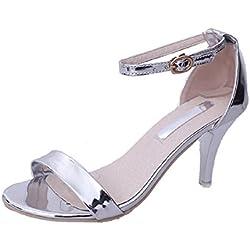 DEERTIDE , Damen Schuhe mit Riemchen , silber - silber / schwarz - Größe: 35