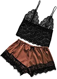 Ultramall Women Satin Lace V-Neck Camisole Bowknot Shorts Set Sleepwear Pajamas Lingerie