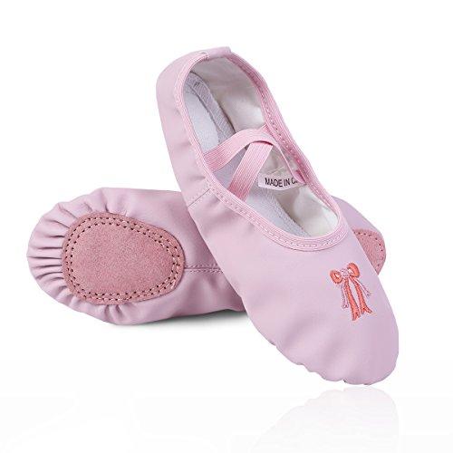 iEFiEL Ballettschuhe Kinder Ballettschläppchen Mädchen Leder Ballett Schuhe Turnschuhe Schläppchen Rosa 24