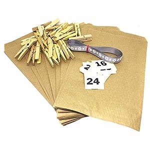 Adventskalender mit 24 Tüten DIY Set 12 x19 cm zum Befüllen inkl Adventskalenderzahlen Aufklebern in klassischem Design…