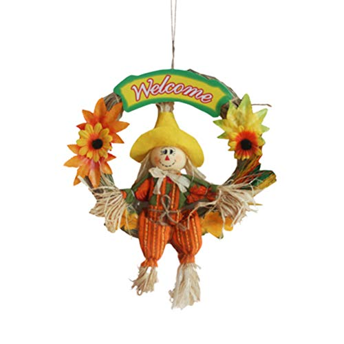 BESPORTBLE Halloween Kranz Girlande hängende Dekoration für Haustür Indoor Outdoor Thanksgiving Herbst Herbst Ernte Bar Decor - Straw Boy