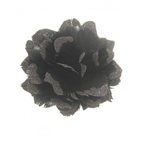 Wundervolle, schwarze Haarblume aus Federn geformt mit Glitter