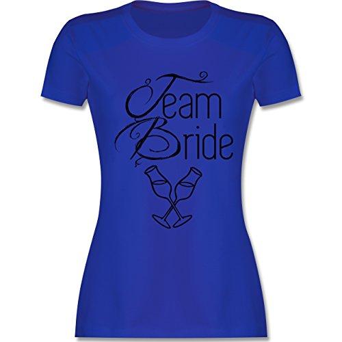 JGA Junggesellinnenabschied - Team Bride Sektgläser - tailliertes Premium T-Shirt mit Rundhalsausschnitt für Damen Royalblau